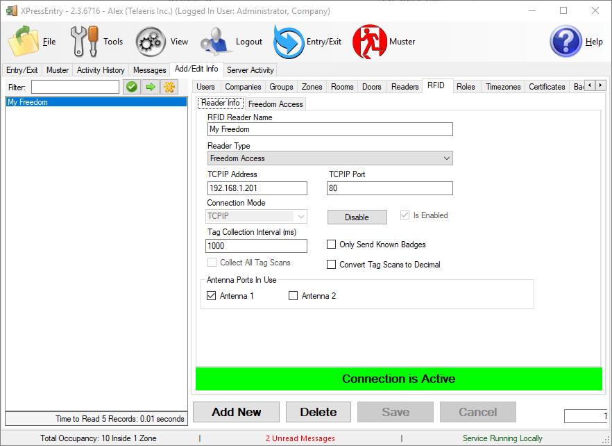 XPressEntry RFID选项卡已启用