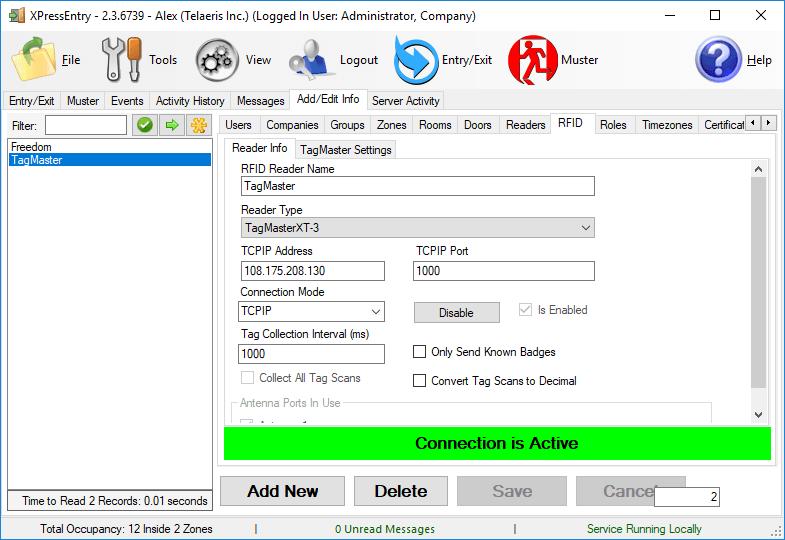 XPressEntry RFID Tab TagMaster Connecté