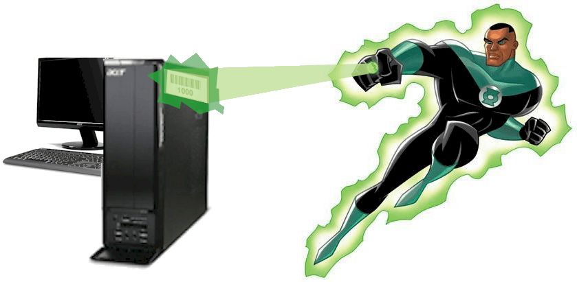Green lantern super hero con scanner di codici a barre