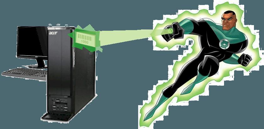 Супер-герой с зеленым фонарем со сканером штрих-кода