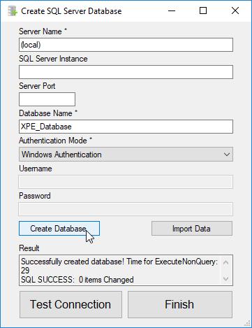xpressentryは、SQL Serverデータベースを作成します