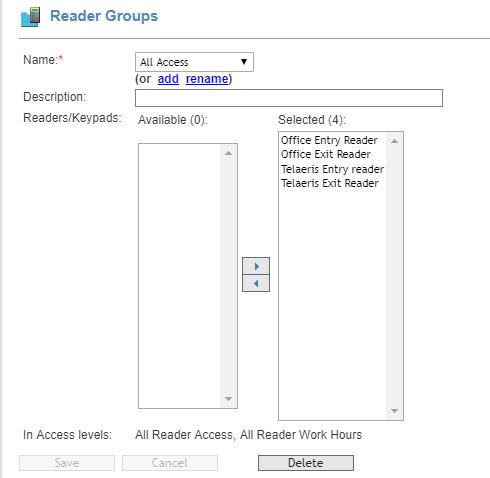 ایجاد دستی های دستی Xpressentry منطقی در گروه s2 netbox - گروه های خواننده
