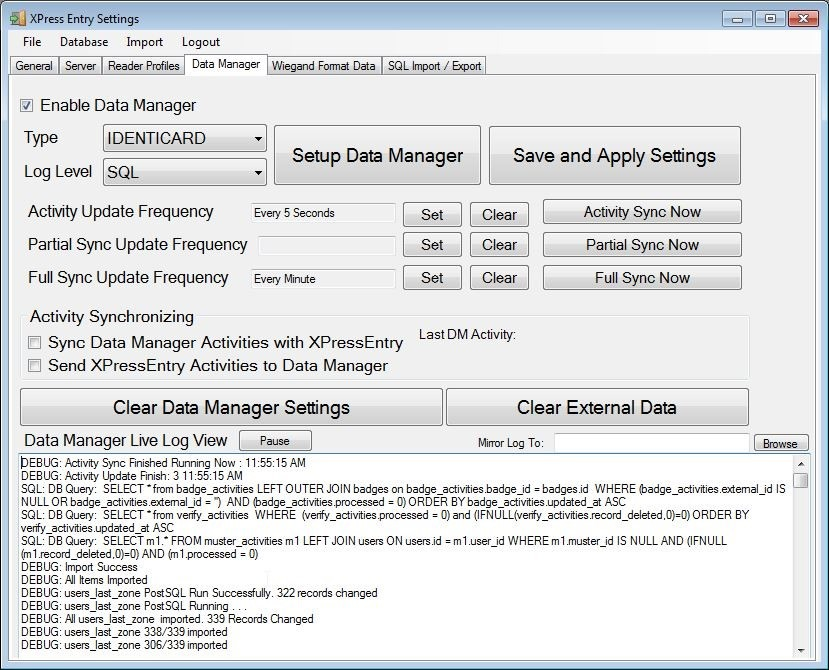 xpressentry data manager set up