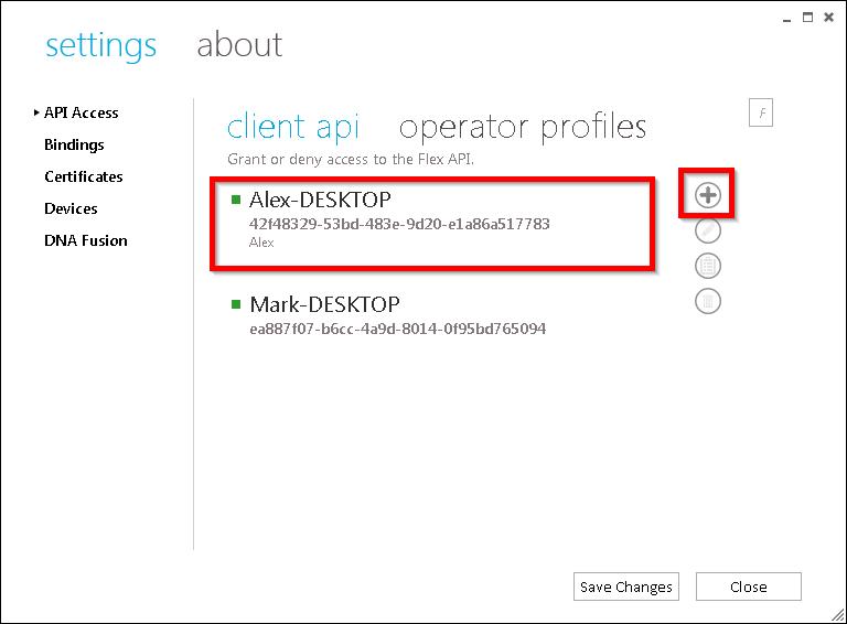 xpressentry 열기 옵션은 플렉스 API 키를 만듭니다.