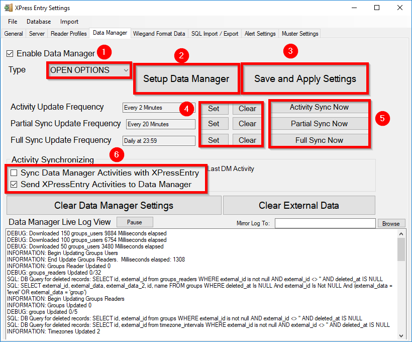 xpressentry open opties data manager tab