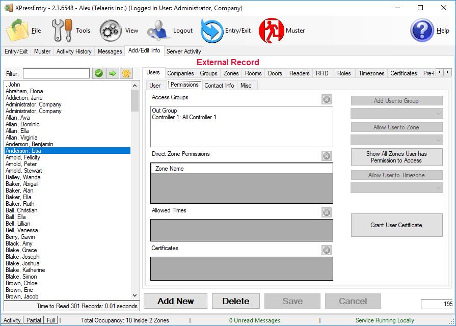xpressentry opent opties gebruikersrechten