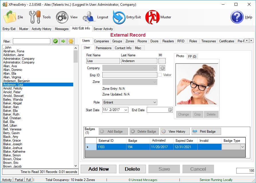 xpressentry open opties gebruikers