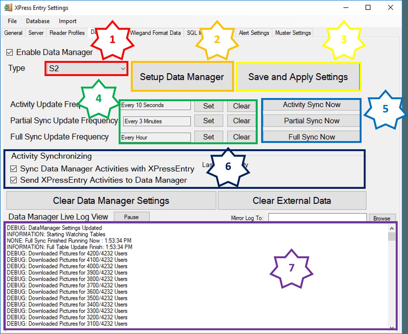 xpressentry s2 ڈیٹا مینیجر ٹیب