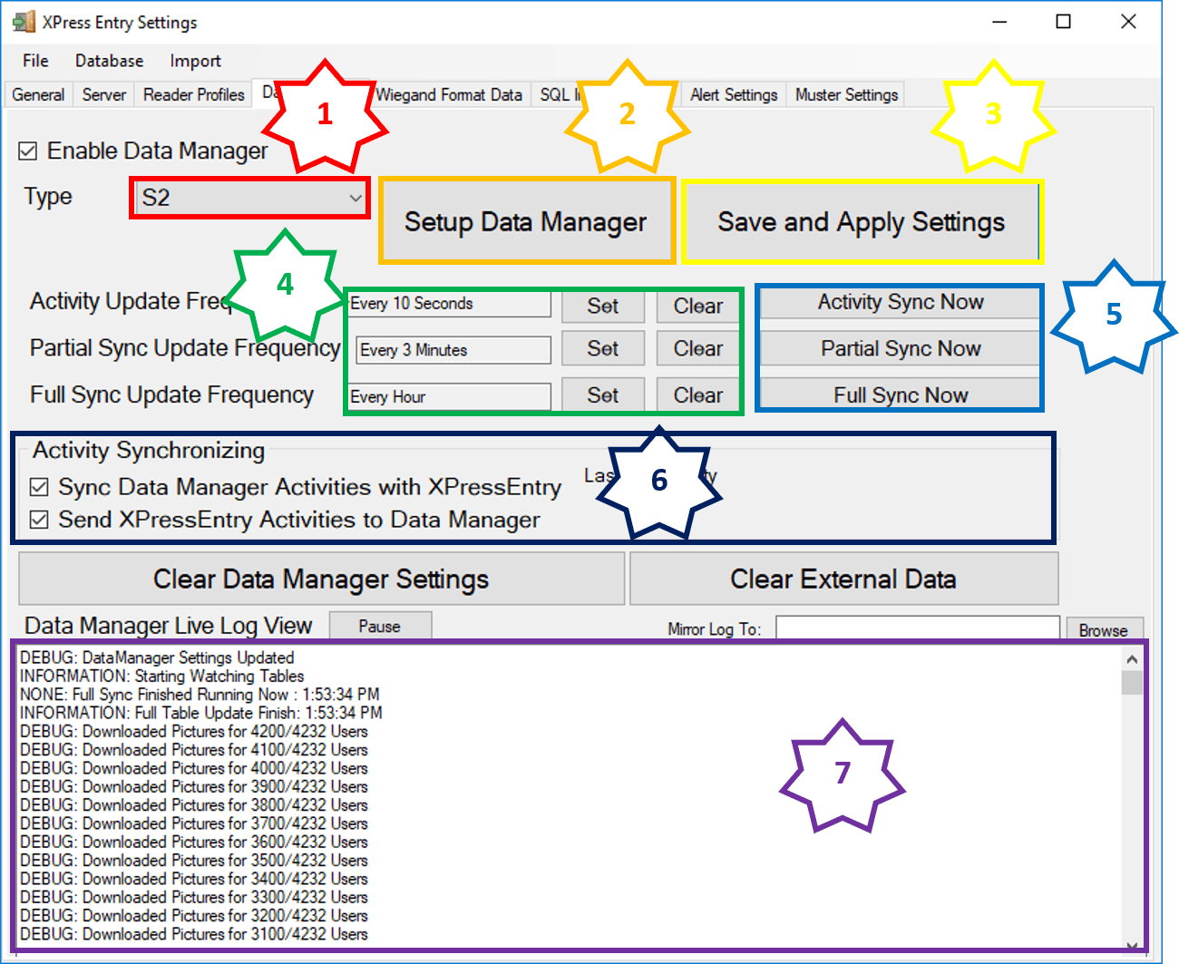 xpressentry s2 데이터 관리자 탭
