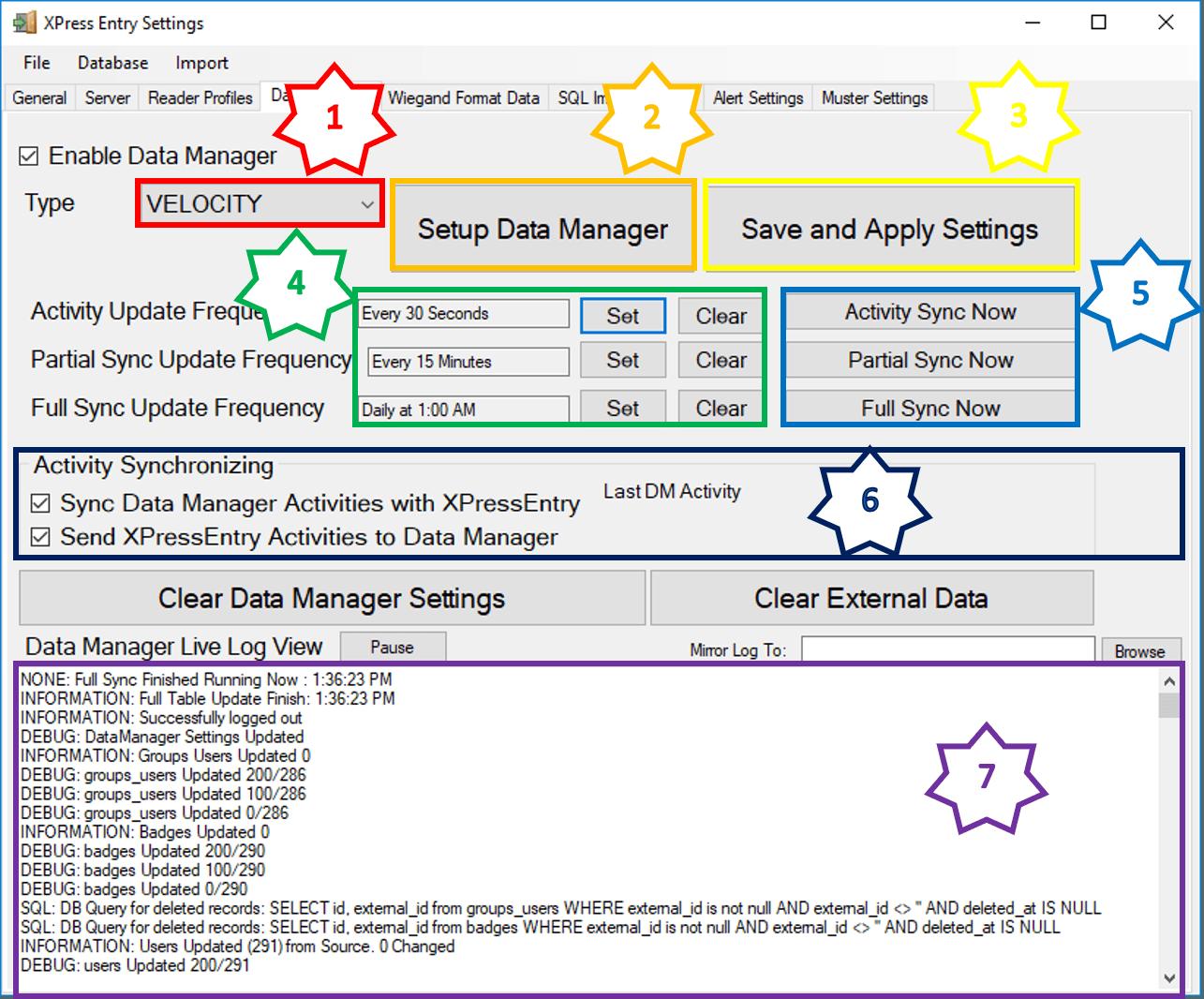 Xpressentry میں ڈیٹا بیس مینیجر ٹیب میں مطابقت پذیری کو چالو کریں