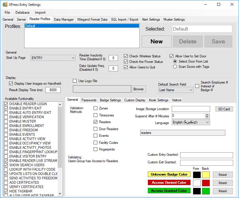 在xpressentry中启用同步 - 阅读器配置文件选项卡