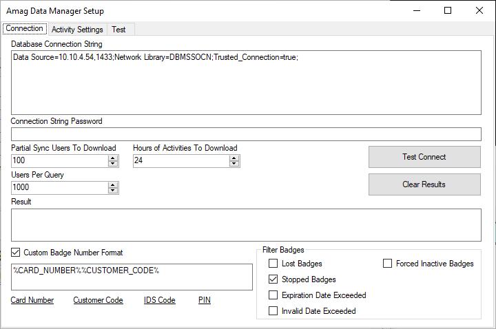 Configurações de conexão Amag