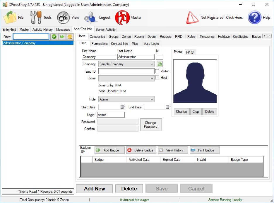 xpressentry adminユーザーが保存されました