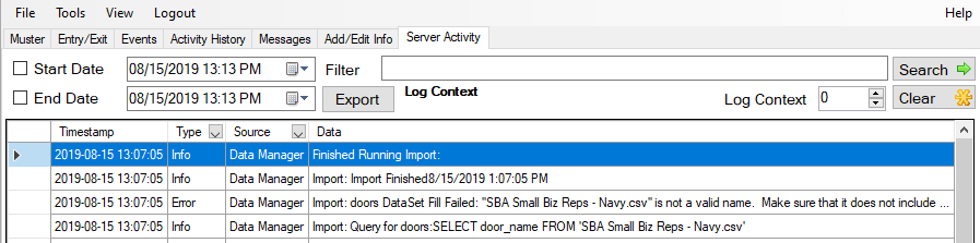 xpressentry server activity