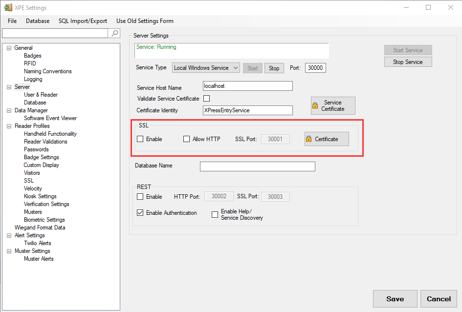 xpressentry server parametrləri