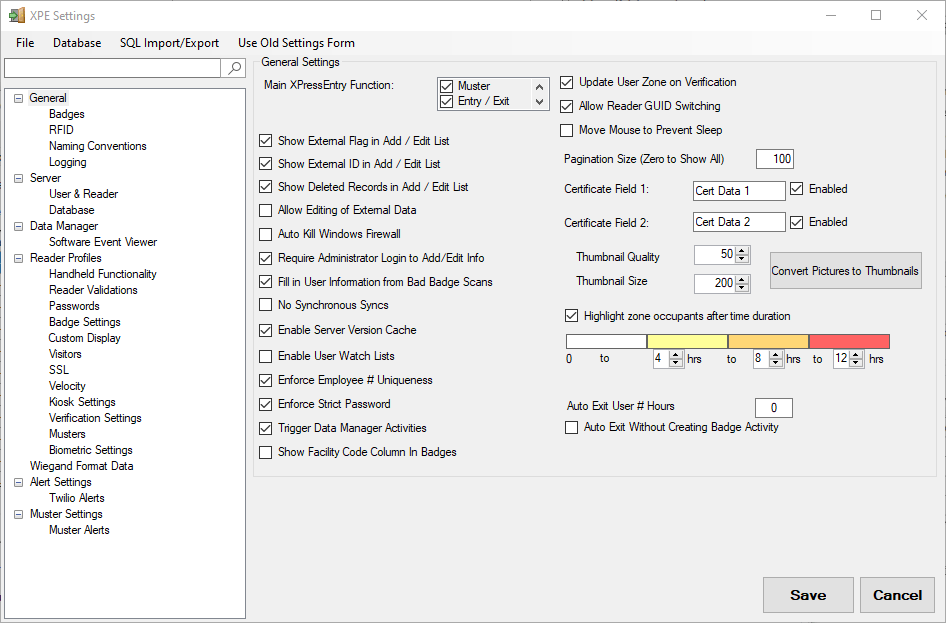 xpressentry settings