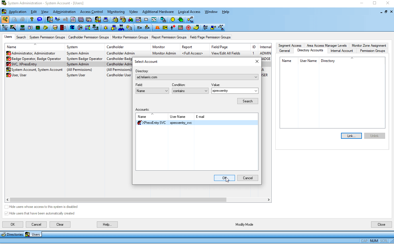 lenel onguard single sign on - create user - link windows service