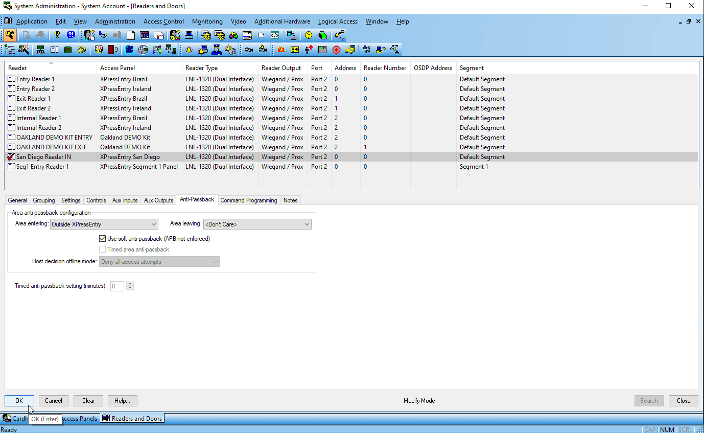 lenel onguard system account - ok