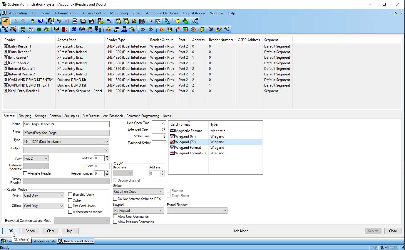 حساب نظام lenel onguard