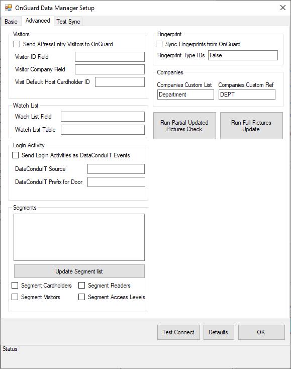 onguard data manager setup - advanced