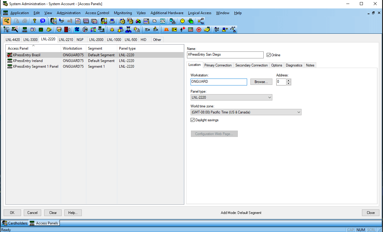 xpe lenel onguard system account access panel