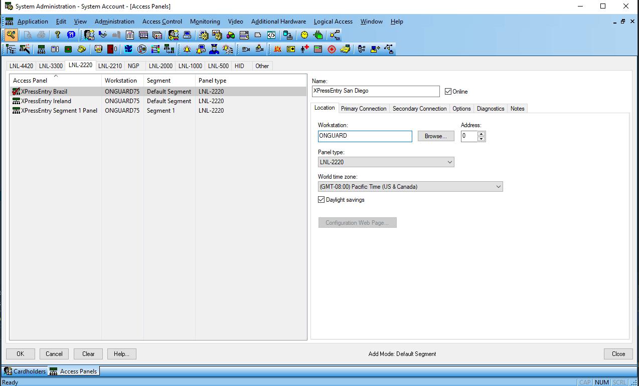 لوحة وصول حساب نظام xpe lenel onguard
