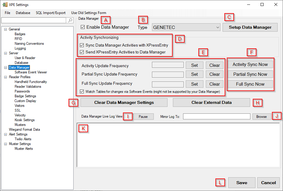 xpressentry data manager tab