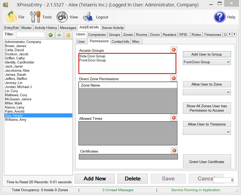 xpressentry-Benutzerberechtigungen