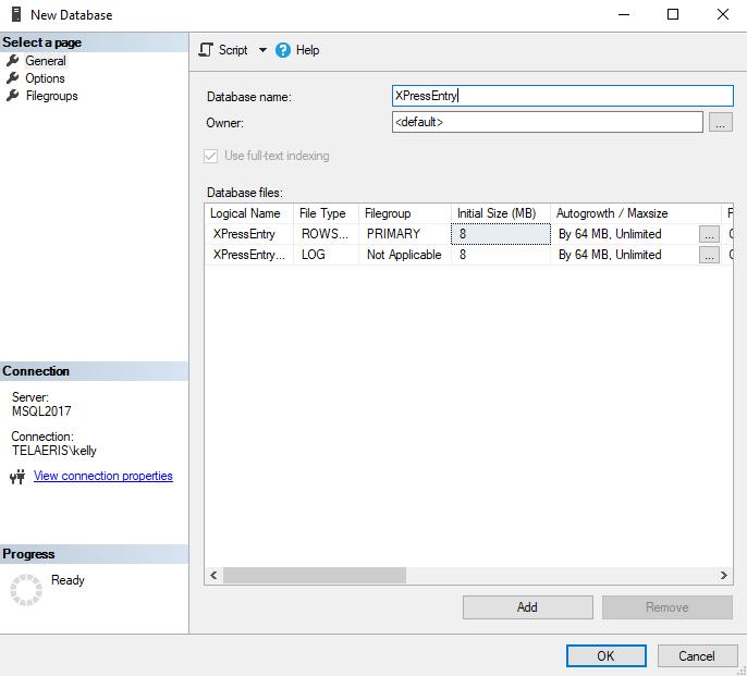 nouvelle base de données xpressentry