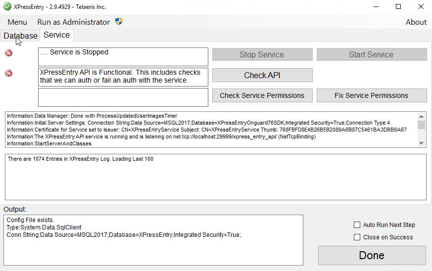 xpressentry service permissions