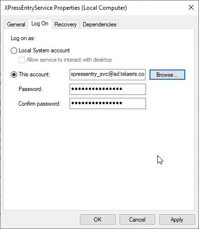 xpressentry service properties